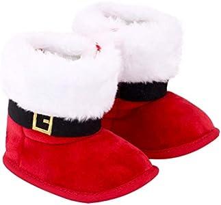 Happyyami Bebé Niñas Niños Botas Navideñas Infantil Santa Claus Suela Blanda Cuna Prewalker Zapatos Calzado