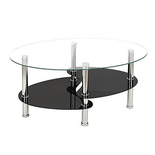 YJIIJY Mesa de Centro con Revistero y Tapa de Cristal Ovalada para Sala de Estar, Cafetería, Oficina (Transparente)