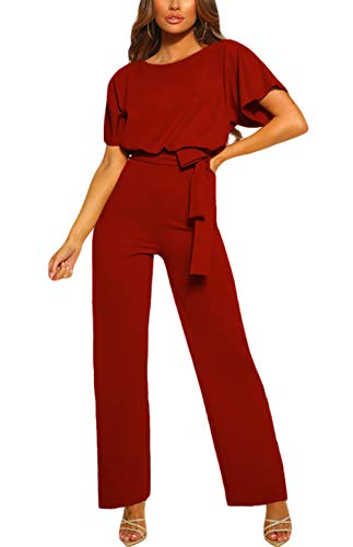 Happy Sailed Damen Langarm O-Ausschnitt Elegant Lang Jumpsuit Overall Hosenanzug Playsuit Romper ,Rot,M