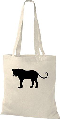 Stoffbeutel; Tiermotiv Raubkatze, Puma, Leopard,Tiger, Jaguar, Panther, Löwe; Farbe Natur