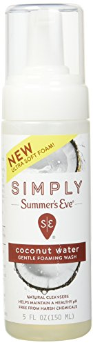 Summer's Eve Simply  Gentle Foaming Wash - Helps Maintain a naturally healthy pH - Free From Harsh Chemicals, Dyes, Alcohol, and Parabens - Gynecologist Tested -  Coconut Water - 5 Ounce (850105)