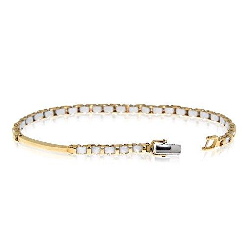 Gioiello Italiano - Geel Goud Armband met Wit Keramisch
