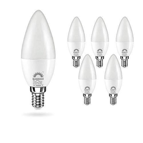 Pack de 5 Bombillas LED E14 Bajo Consumo CHILE C37 · Lámpara LED 6W con 510 Lm. · 4500K Blanco Neutro · Medidas: 37mm Ø x 105mm ** 1 BOMBILLA DE REGALO [Clase energética: A+]