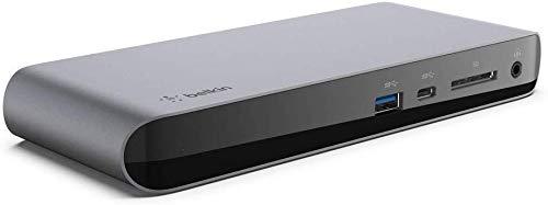 Belkin Base Dock Thunderbolt 3 Pro con Cable Thunderbolt 3 de 0,8 m (Conector Dock para macOS y Windows, Dos Pantallas 4K a 60 Hz, 40 Gbps de Transferencia y Carga de Salida de 85 W)