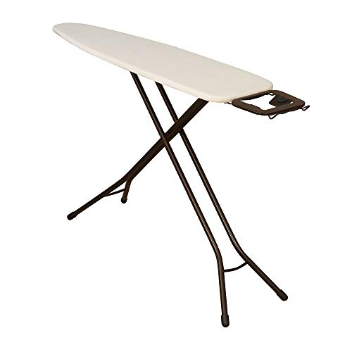 Household Essentials Steel Top Long Ironing Board with Iron Rest | Natural Cover and Bronze Finish | 14' x 54' Iron Surface