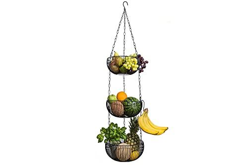 BS Obstkorb hängend – hochwertiger Hängekorb im modernen Stil Aufbewahrung Obst und Gemüse – Obstschale – Kräuterampel – Etagere – Brotkorb – Deko für Küche Haushalt inkl 2 Haken (Farbe: Schwarz)