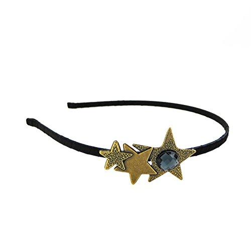 Rougecaramel haarsieraad haarband ster van metaal en strass, goudkleurige basis, blauwe strass