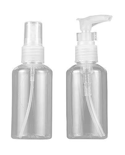 2 pcs Botes Transparentes Rellenables Vacíos Spray y Dosificador para Viaje Maquillaje Cosmético 75 ml