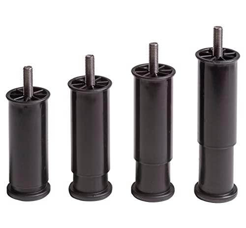 IPEA 4 Patas Ajustables para Muebles, Cocina, sofá, armarios. Juego de 4 Patas Extensibles en Altura de 100 a 145 mm. Patas de Color Negro. 45 mm de extensión.