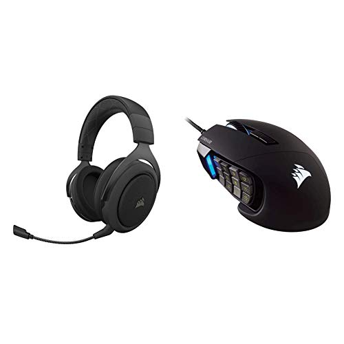 Corsair HS70 Pro Wireless Gaming Headset – Carbon (CA-9011211-NA) & Scimitar Pro RGB - MMO Gaming Mouse - 16,000 DPI Optical Sensor - 12 Programmable Side Buttons - Black