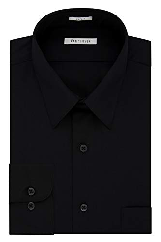 Van Heusen Men's Poplin Regular Fit Solid Point Collar Dress Shirt, Black, 17' Neck 36'-37' Sleeve