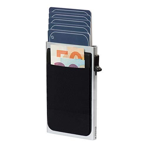 PRIMØ germany® Slim Wallet Swipe mit Münzfach und RFID-Schutz und Ummantelung aus echtem Leder I Für Herren und Damen (Silber ohne Ledermantel)