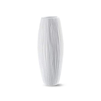 D'vine Dev White Ceramic Flower Vase, Waterfall Textured Vase with Design Box Packaged, 8 Inch