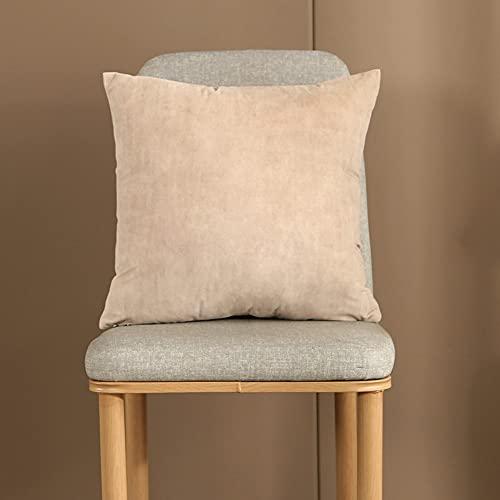 Fundas de cojín 4 unidades de 45 x 45 cm Funda de almohada decorativa de terciopelo con cremallera invisible para sofá, dormitorio, sala de estar (beige)