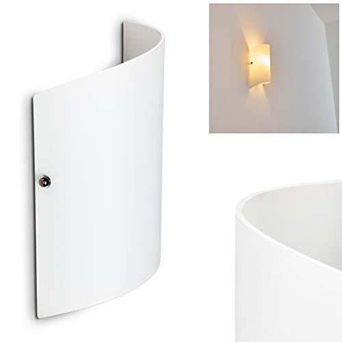 Wandlampe Pordenone aus Glas in Weiß, moderne Wandleuchte mit Lichtspiel an der Wand, 1 x E14 max. 40 Watt, Innenwandleuchte mit Up & Down-Effekt, geeignet für LED Leuchtmittel