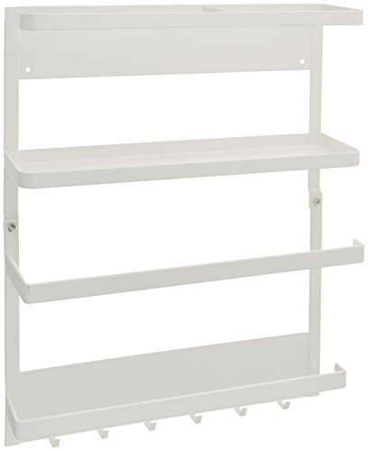 White Magnetic Kitchen Organization Rack for Paper Towel and Spice Storage