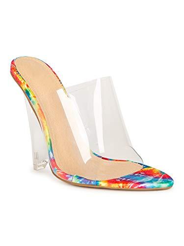 Alrisco Lady Godiva Pointy Open Toe Mule Perspex Wedge Heel 20092 - Multi (Size: 6.5)