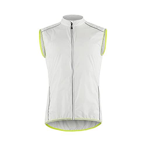 SFITVE Hombre Chaleco Cortavientos de Ciclismo,Impermeable Ligero Ciclismo para Hombre,Reflectante Transpirable Running para Hombre Chaquetas de Running para Hombre(Size:Medium,Color:Blanco)