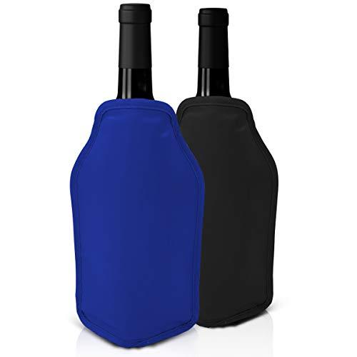 Set di 2 Refrigeratori per vino - Nero e blu - Perfetto per bottiglie di vino e di Champagne - Ideale per cene ed eventi