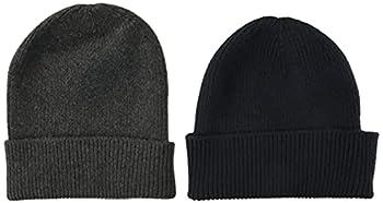 Amazon Essentials Men s 2-Pack Knit Beanie Hat Navy/Gray Heather One Size