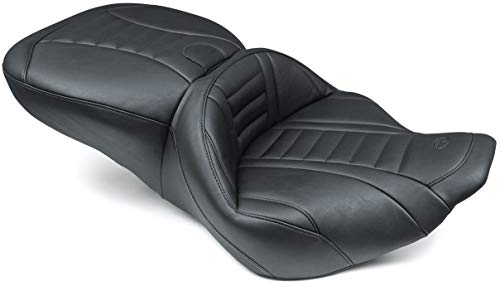 Mustang 76738 Super Touring Deluxe One-Piece 2-Up Motorcycle Seat for Harley-Davidson 1997-2007, Black