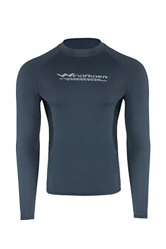 WindRider Men's Rash Guard Swim Shirt – Long Sleeve UPF 50+ Performance Fit Silver/Black