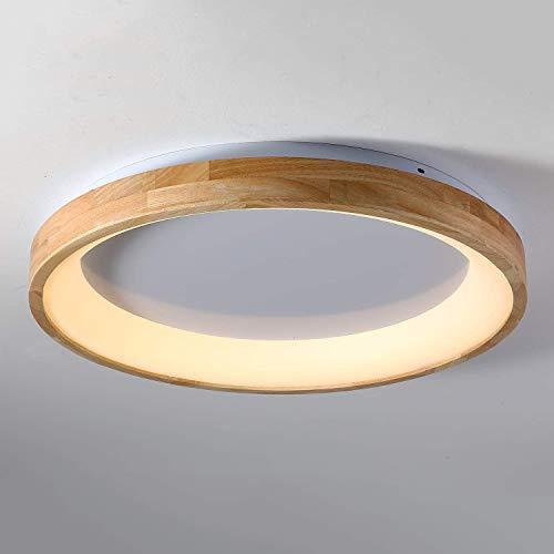 Modern Plafón Madera LED Redonda, 36W Ultradelgado Nordic Luz Dormitorio, Decorativa Diseño...