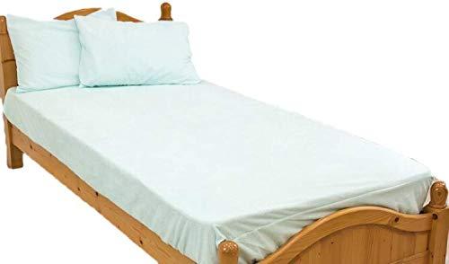 防水シーツ シングル ボックスシーツ ロングパイル おねしょシーツ ロング綿パイルの防水BOXシーツ(100×200×30cm) ブルー