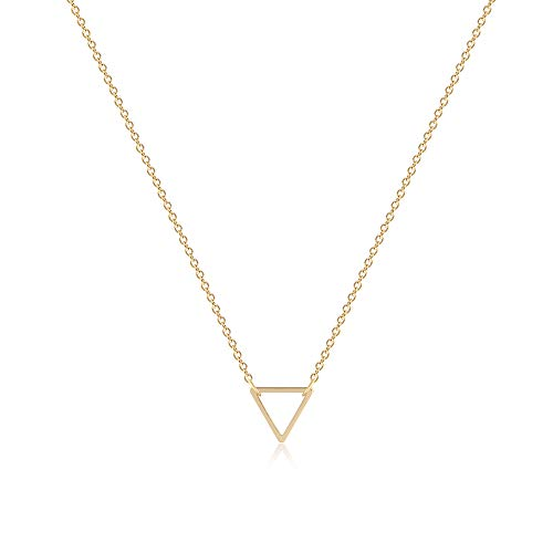 Fettero Tiny Gold Triangle Necklace,Delicate Simple Geometric Open Triangle Necklaces for Women