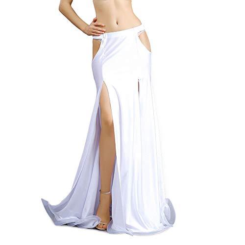 ROYAL SMEELA Sexy Delgado Falda de Danza del Vientre Corte Largo Faldas de Baile Disfraz de Danza del Vientre Ropa de Mujer de Rendimiento Falda Maxi Split Sirena Vestidos