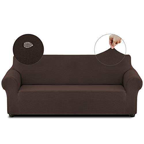 Cristgee Waterproof Sofa Cover, High Stretch Couch Cover, Jacquard Sofa Slipcover, Leakproof Funiture Protector for Kids, Pets (Sofa, Chocolate)