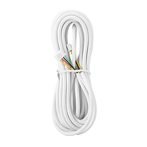 Cable de 4 núcleos, Cable de teléfono, Carcasa de Aislamiento de PVC Blanco Durable y Estable de 30 m / 1181,1 Pulgadas de Longitud para el Sistema telefónico de videoportero doméstico