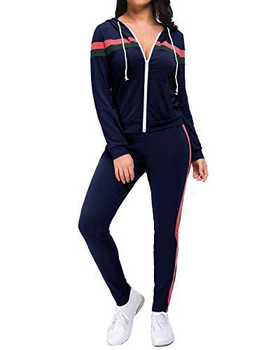 MINTLIMIT - Chándal para mujer, chándal, chándal, chándal, chaqueta deportiva, con cremallera, sudadera con capucha, camisa, cadera, pantalones