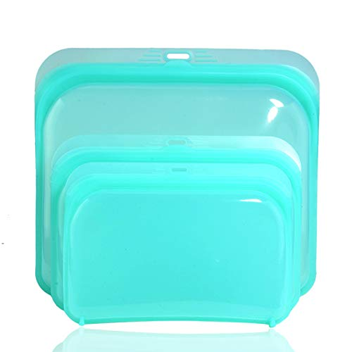 Bolsas reutilizables de silicona para alimentos, reutilizables, aptas para lavavajillas, para alimentos o utensilios (420 ml, verde)