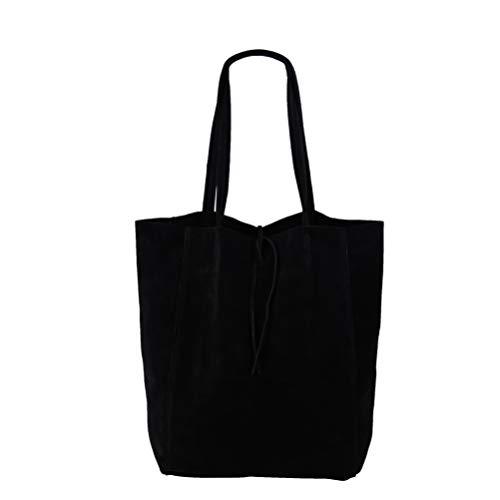 SH Leder ® Damen Echt Wildleder Shopper mit Innentasche in vielen Farben Schultertasche Henkeltasche 37x29cm Katrin G261 (Schwarz)