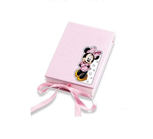 CUBIERTOS para BEBE con estuche con aplique de Plata bilaminada de MINNIE. Color rosa.
