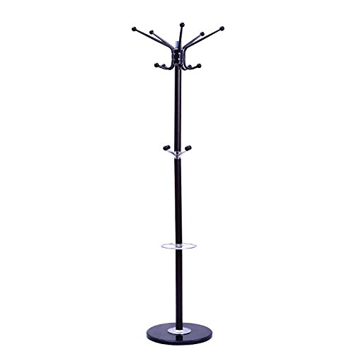 """Tenive Standing Rotating Metal Coat Rack Hat Rack Stand with Umbrella Holder,70"""" 4-Level 14 Hooks Entryway Jack Purse Scarf Hat Hanger Hall Tree with Marble Base"""