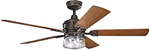"Kichler 310139DBK Lyndon Patio 52"" Outdoor Ceiling Fan with..."