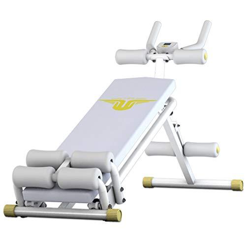 Olympia-Hantelbänke Sit-ups Bauch Rudergerät Bauchausrüstung Multifunktions-Heimfitnessgeräte Taillentraining (Color : Weiß, Size : 40 * 86 * 142cm)