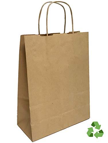 Bolsas de Papel KRAFT | Reciclables | Marrón | 22x10x30 cm | Asa rizada | (50)
