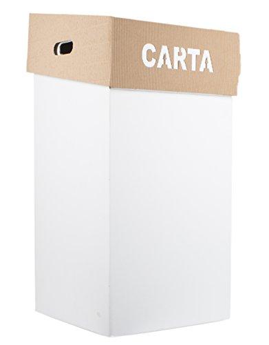Secchio Contenitore Carta, Organico, Indifferenziata, Vetro, Plastica SEKKEI Sustainable Design in Cartone, Bianco con Cappello Pieghevole, Confezione 5pz.