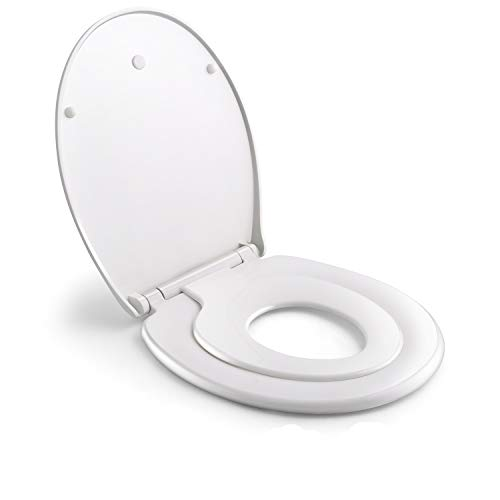Himimi Familien Toilettendeckel,Premium Toilettensitz mit Kindersitz Integriert O-Form