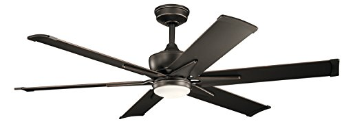KICHLER 300300OZ Protruding Mount, 6 Old Bronze Blades Ceiling fan with 31 watts light,...