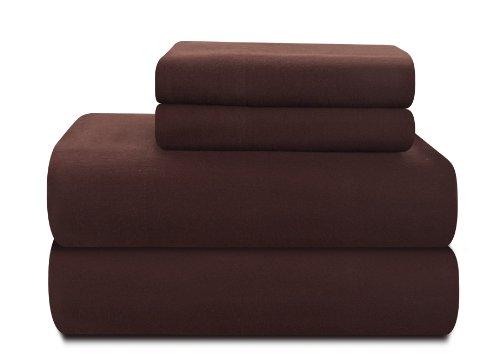 Pointehaven Heavy Weight 100-Percent Cotton Flannel Queen Sheet Set, Chocolate