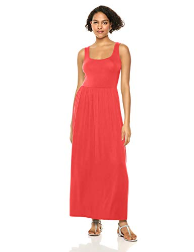 Amazon Essentials Tank Waisted Maxi Dress, Red Coral, M