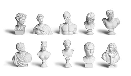 Garwor 10PCS/Set 2.75' Mini Figures of Greek Mythology Statue Resin Sculpture World Famous Bust Figurine Home Office Art Décor