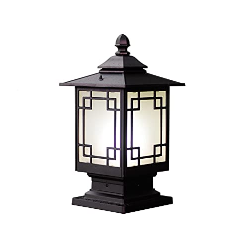 SDFDSSR Luz de Columna de Patio al Aire Libre Chino Lámpara de Poste de jardín de Aluminio Fundido para Luces de Casquillo de Poste de Paisaje de Villa Decoración de Boda Pilar Exterior Linterna Luz