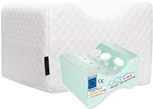 AIMO Spain Almohada cojín para piernas ortopédico de Rodilla. con Gel INFUSIONADO, Facilita el Dormir de Lado, Alivia Dolores de Espalda y Caderas, más Fresca,más cómoda, más higiénica