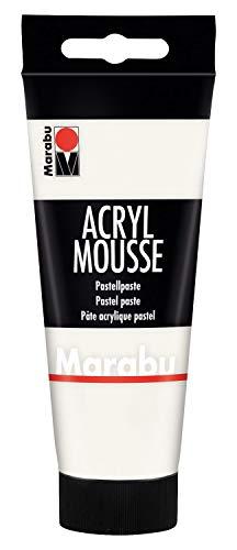 Marabu 12050050070 - Acryl Mousse weiß 100 ml, leichte Pastell - Acrylpaste auf Wasserbasis, luftige Konsistenz, zum Auftrag mit Malmesser und Pinsel auf Keilrahmen, Holz, Papier und Metall