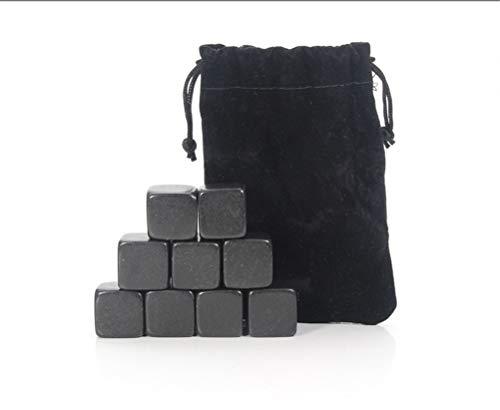 Aiglen Juego de Piedras de Whisky - 9 Piedras de Whisky de Granito/Caja de Madera/Bolsa de Terciopelo/Cubitos de Hielo refrigerantes Reutilizables (Color : 9 Black Stones Bag)